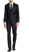 Vince Camuto Charcoal Sharkskin Two Button Notch Lapel Slim Fit Wool Suit