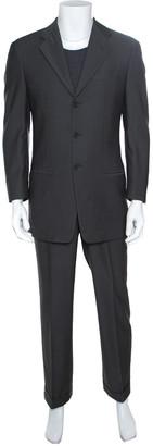 Armani Collezioni Grey Herringbone Weave Wool Tailored Suit S