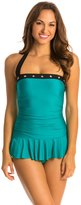 Eco Swim Give Me A Ring Grommet Shirred Halter Swimdress 8132475