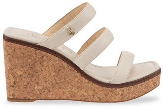 Jimmy Choo Athenia Leather Wedge Mules