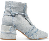 MM6 MAISON MARGIELA Frayed Patchwork Denim Ankle Boots - Light denim
