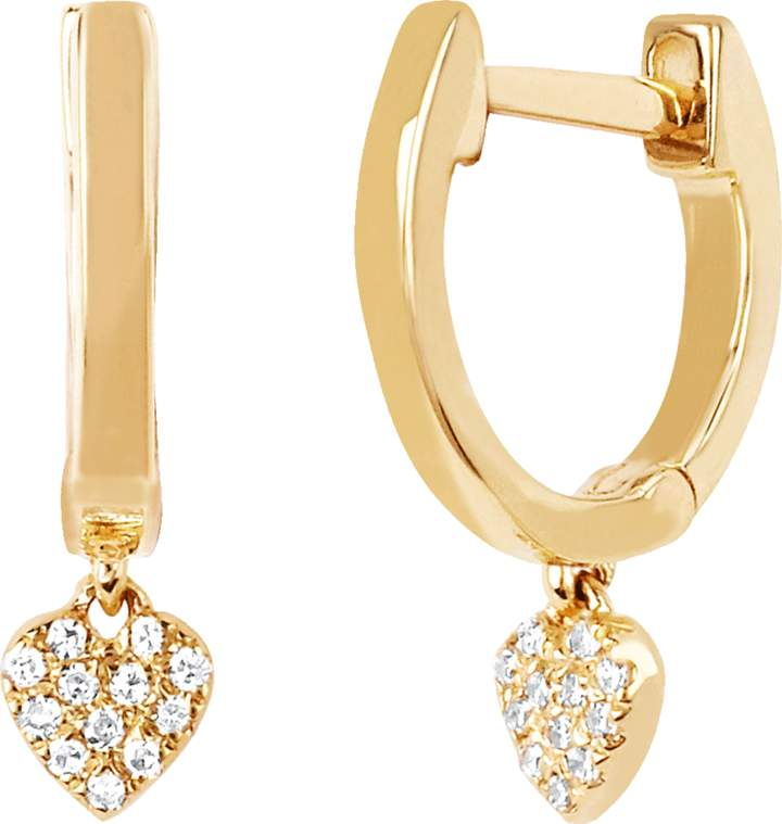 Ef Collection Diamond Heart Drop Huggie Earrings