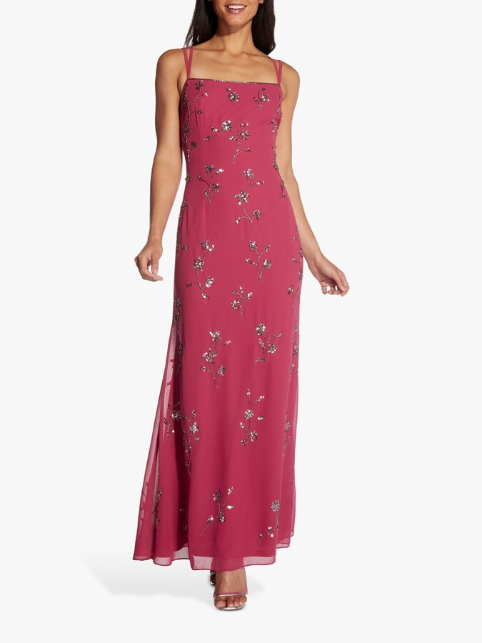 Adrianna Papell Hailey Logan by Floral Sequin Ball Gown, Dusty Rouge