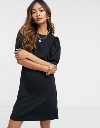 Vero Moda mini sweat dress with puff sleeve in black