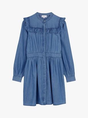 Warehouse Ruffle Denim Shirt Dress, Mid Wash Denim