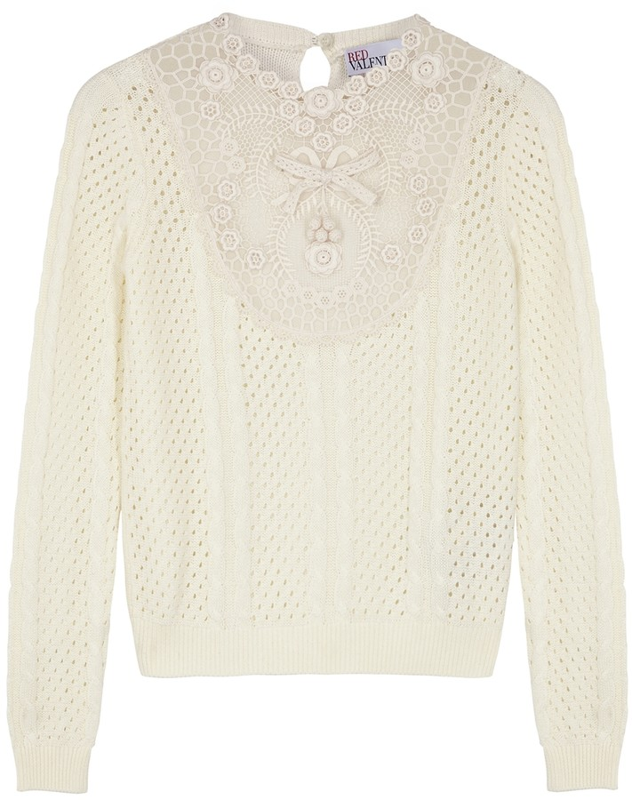 RED Valentino Cream lace-panelled cotton jumper