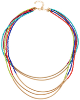 Adele Marie 5 Row Bead and Spring Tube Necklace, Gold/Multi