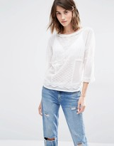 Warehouse Embroidered Batwing Top