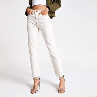 River Island Womens Cream straight leg jeans
