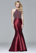 Faviana s7974 Long fit and flare dress with beaded bodice