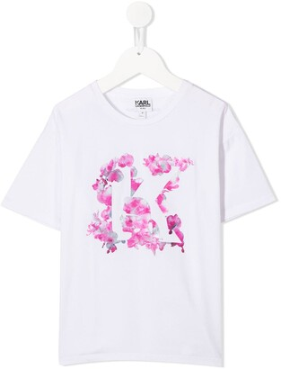 Karl Lagerfeld Paris flower logo T-shirt