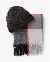 Express plaid scarf and beanie set