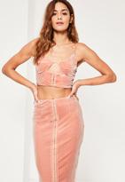 Missguided Pink Gather Plunge Velvet Bralet