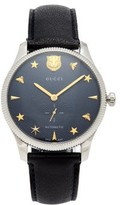 Gucci - G Timeless Leather Automatic Movement Watch - Mens - Navy Silver