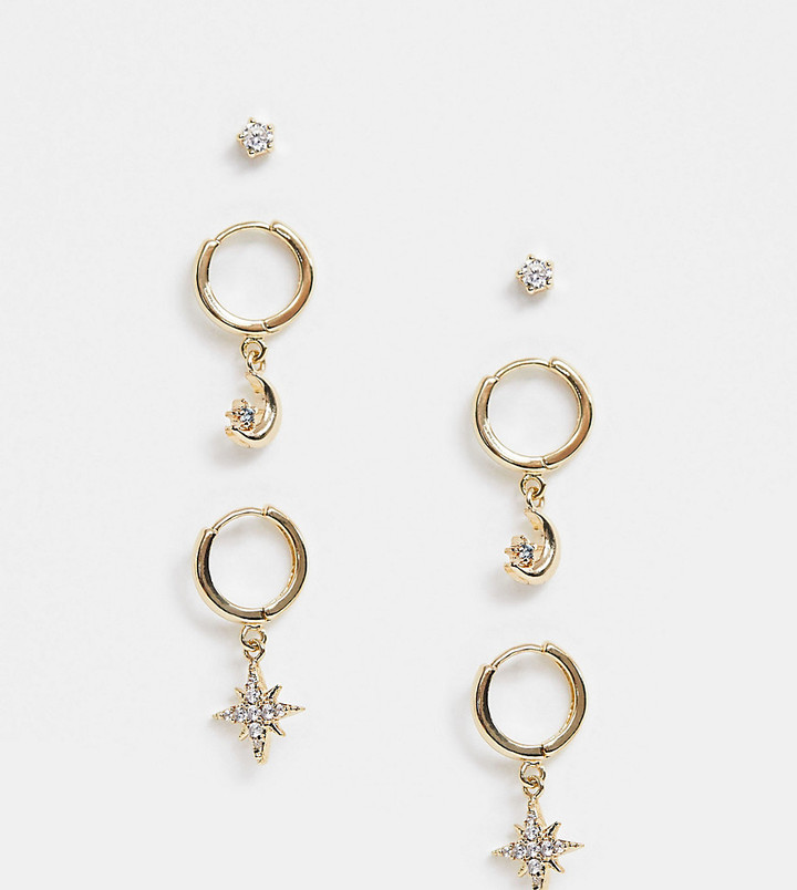 Reclaimed Vintage inspired earrings multipack with moon and star