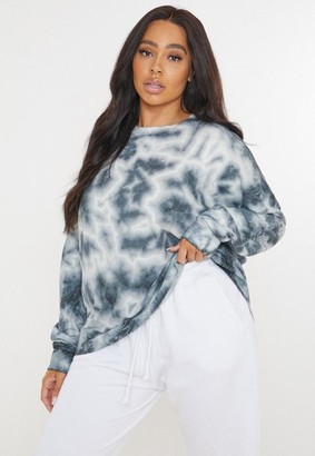 Missguided Plus Size White Tie Dye Sweatshirt