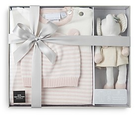 Elegant Baby Girls' 3 Pc. Hat, Jumpsuit & Plush Toy Boxed Gift Set, Baby 100% Exclusive