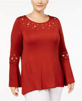 Belldini Plus Size Bell-Sleeve Grommet Top