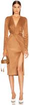 Cushnie Long Sleeved Plunging Dress in Camel | FWRD