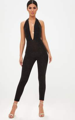 PrettyLittleThing Black/Gold Lurex Plunge Jumpsuit
