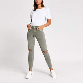 River Island Khaki ripped Amelie super skinny jeans