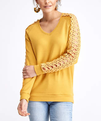 Milan Kiss Women's Tee Shirts MUSTARD - Mustard Lattice-Sleeve V-Neck Top - Women