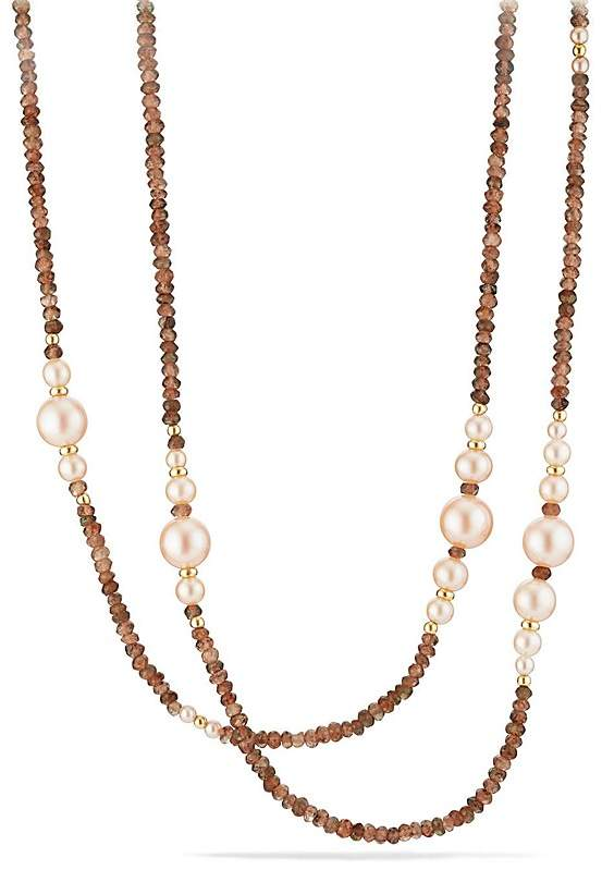 David Yurman Solari Tweejoux Necklace in 18K Gold with Cultured Dyed Pink Freshwater Pearls and Andalusite