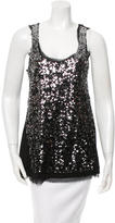 Magaschoni Sequin Embellished Silk Top