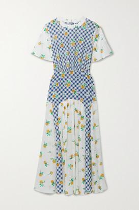 Rixo Jennifer Paneled Printed Silk-crepe Midi Dress - Blue