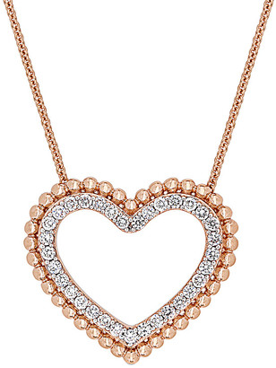 Diamond Select Cuts 14K Rose Gold 0.50 Ct. Tw. Diamond Open Heart Necklace