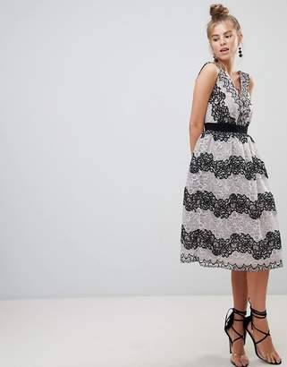 Little Mistress V-Neck Midi Dress In Two Tone Lace Stripe-Black