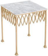 The Well Appointed House San Marco Gold Leaf End Table with Marble Top