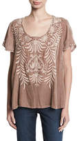 Johnny Was Saskla Flutter-Sleeve Embroidered Velvet Top, Plus Size
