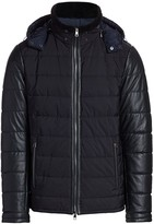 Saks Fifth Avenue Shearling-Collar Leather-Sleeve Puffer Jacket