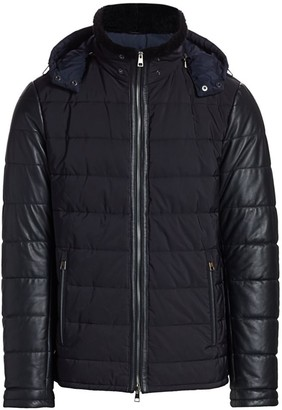 Saks Fifth Avenue COLLECTION Shearling-Collar Leather-Sleeve Puffer Jacket