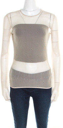 Max Mara Beige Stretch Nylon Mesh Eyelet Embroidered Sheer Top M