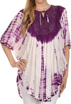 Sakkas 30230 - Ragini Tie Dye Lace Accent Delicate Embroidered Poncho Top / Cover Up - OS
