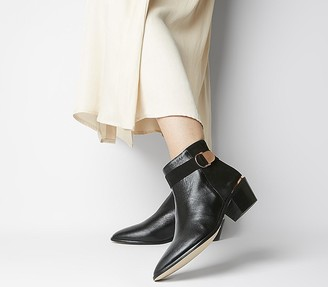 Office Aretha Buckle Boots Black Leather Suede Mix Rose Gold