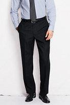Lands' End Men's Pre-hemmed Plain Front Traditional Fit Year'rounder Dress Pants-Blue Grass Plaid