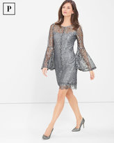 White House Black Market Petite Metallic Lace Bell-Sleeve Shift Dress