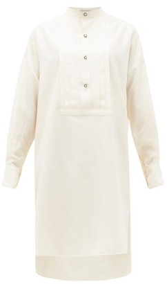 Etro Pleated-plastron Silk-shantung Tunic Dress - Womens - White