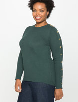 ELOQUII Plus Size Button Sleeve Ribbed Sweater