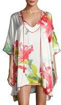 Josie Natori Tropics Floral-Print Silk Short Caftan, Multi Pattern