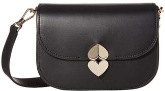 Kate Spade Lula Small Saddle Bag (Black) Bags