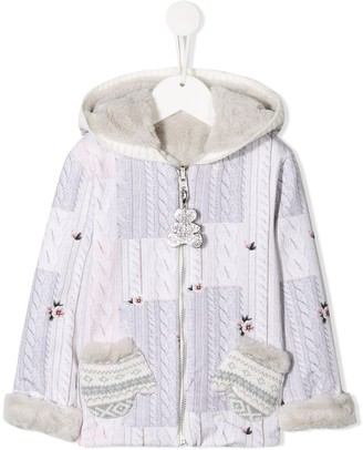 Lapin House Hooded Cable Knit Print Jacket