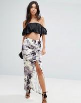 Asos Maxi Skirt in Printed Velvet with Thigh Split