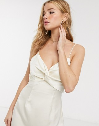 Keepsake these days satin twist detail midi dress in creme