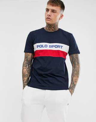 Polo Ralph Lauren Ralph Lauren Sport Capsule chest stripe logo t-shirt in navy