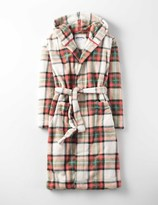 Dressing Gown Utility Green Check Girls Boden