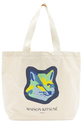 MAISON KITSUNÉ Neon Fox-head Logo-print Canvas Tote Bag - Cream